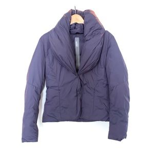 ADD Down Purple Shawl Collar Short Puffer Jacket